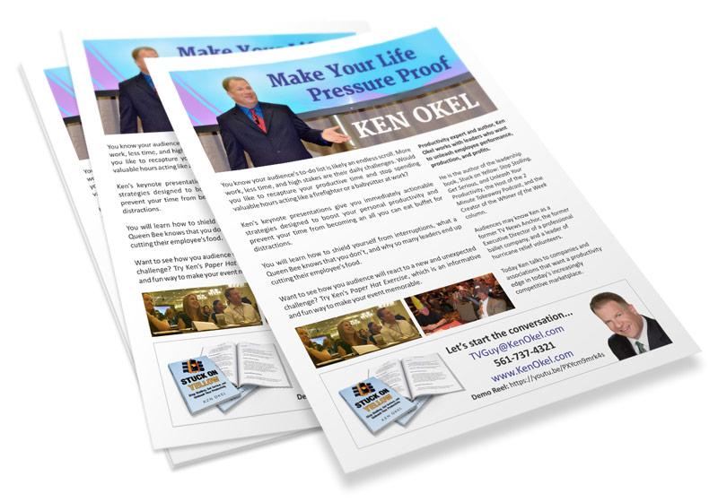 Ken Okel's one-page brochure